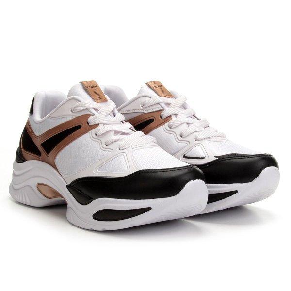 Tênis Azaleia Chunky Sneaker Feminino - Branco e Dourado