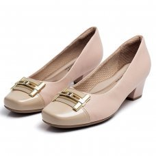Sapato Piccadilly Confort Bico Quadrado - Bege