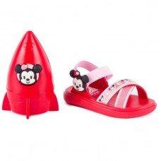 Sandália Grendene Mickey e Minnie Hora Infantil - Vermelha