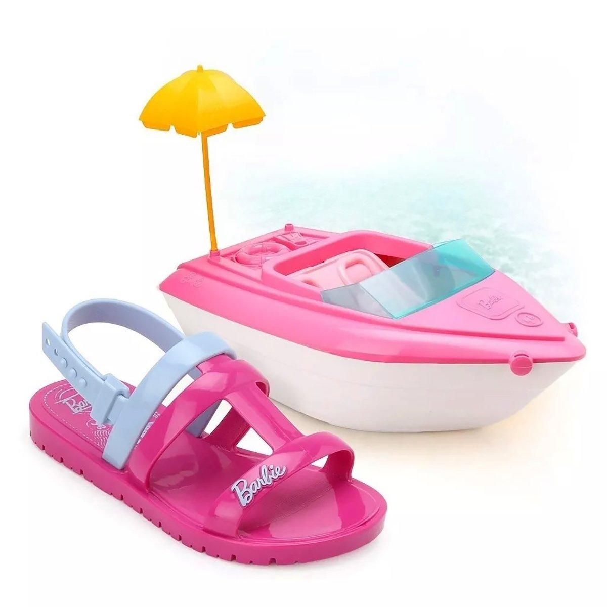 Sandália Barbie Iate Grendene Infantil - Rosa e Azul