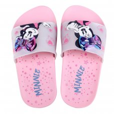 Chinelo Slide Infantil Grendene Minnie Fashion Fun - Rosa e Branco