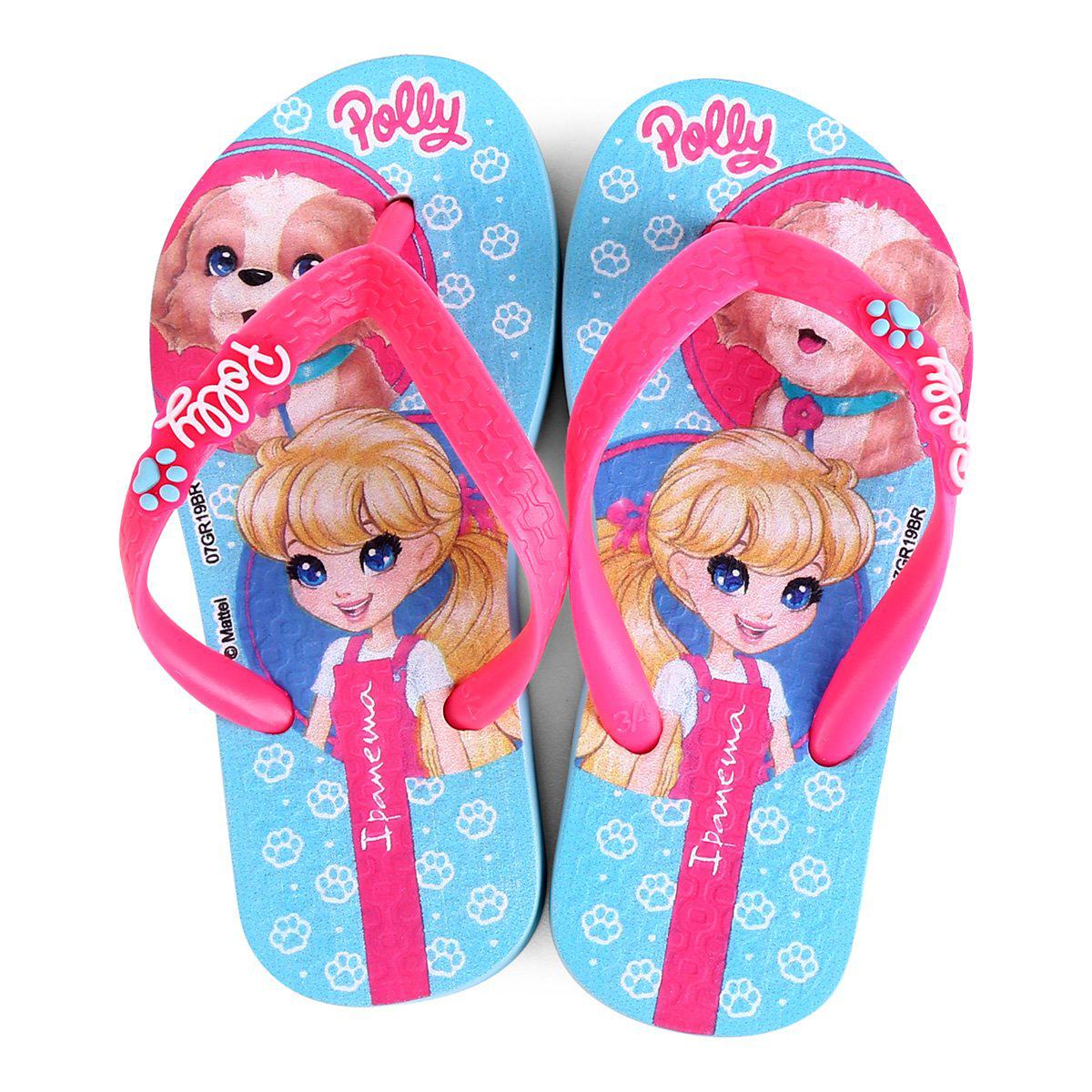 Chinelo Infantil Grendene Kids Polly Feminino - Azul e Rosa