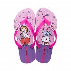 Chinelo Infantil Ipanema BT21 Menina - Lilás e Rosa
