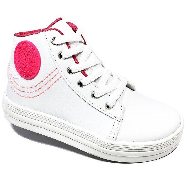 Botinha Infantil LED Grugui Costuras - Branco e Pink