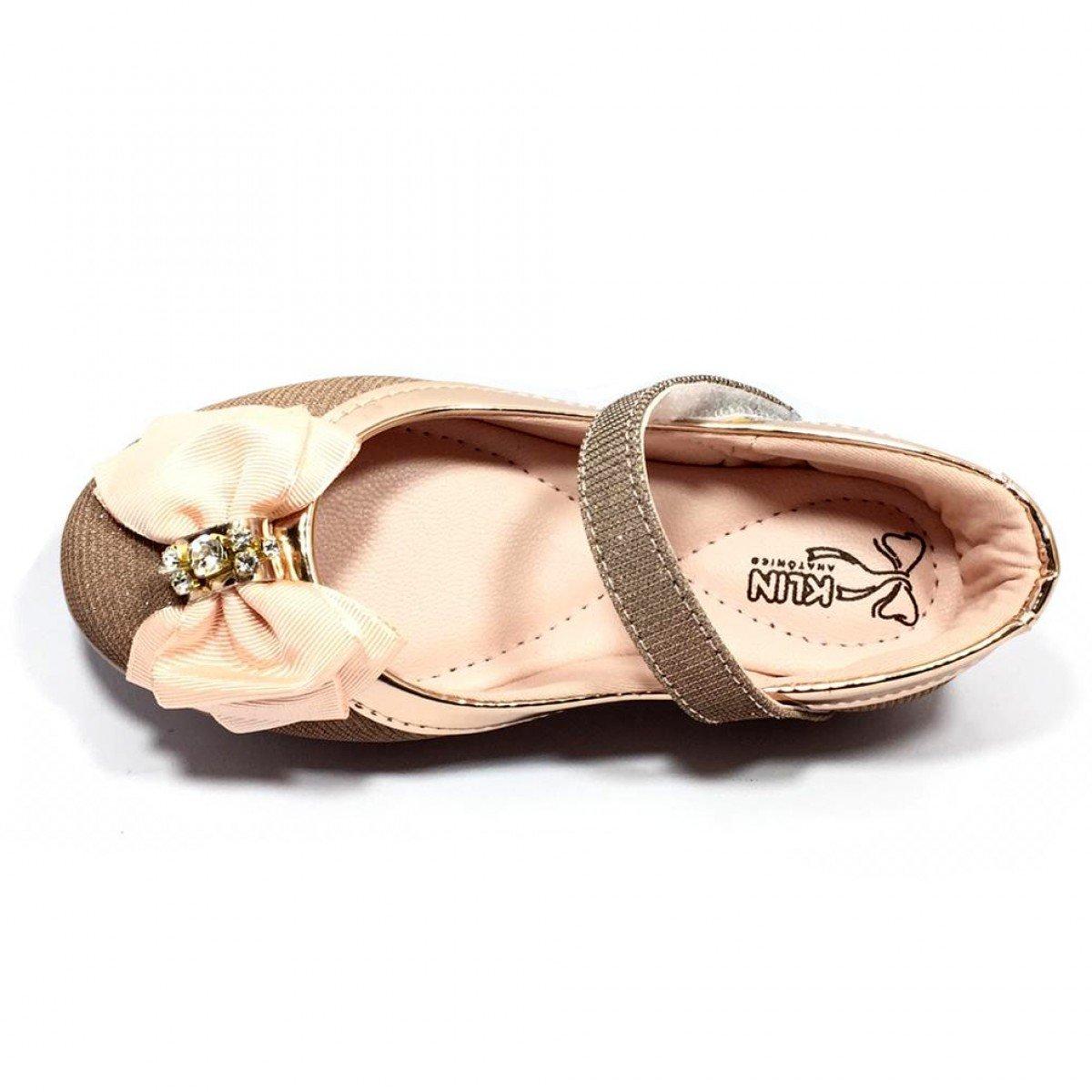 b078b16d14 Sapatilha Klin Princesa Baby Lurex Infantil Ouro Rosa - Compre Agora ...