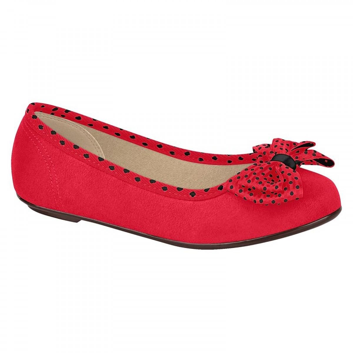 928aecf05 Sapatilha Molekinha Menina Laço de Bolinha Vermelha - Compre Aqui ...