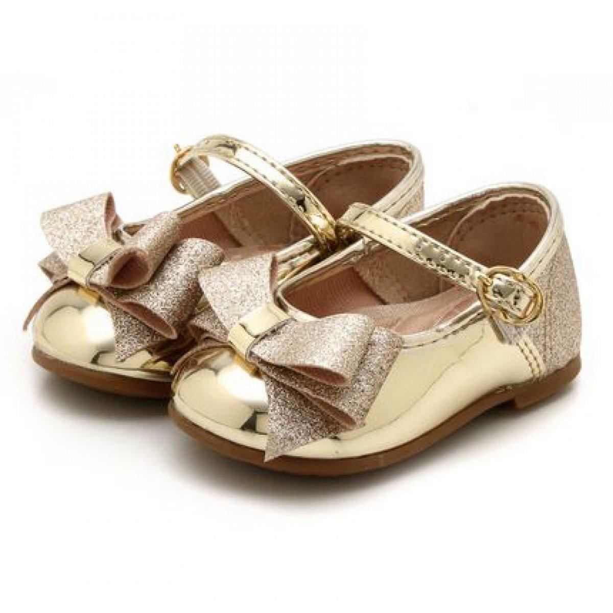 5439d1b14 Sapatilha Molekinha Laço Dourado Gliter - Compre Agora   Cabana Magazine