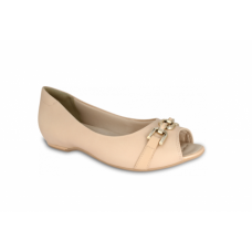 Sapato Peep Toe Comfortflex Nude Feminino