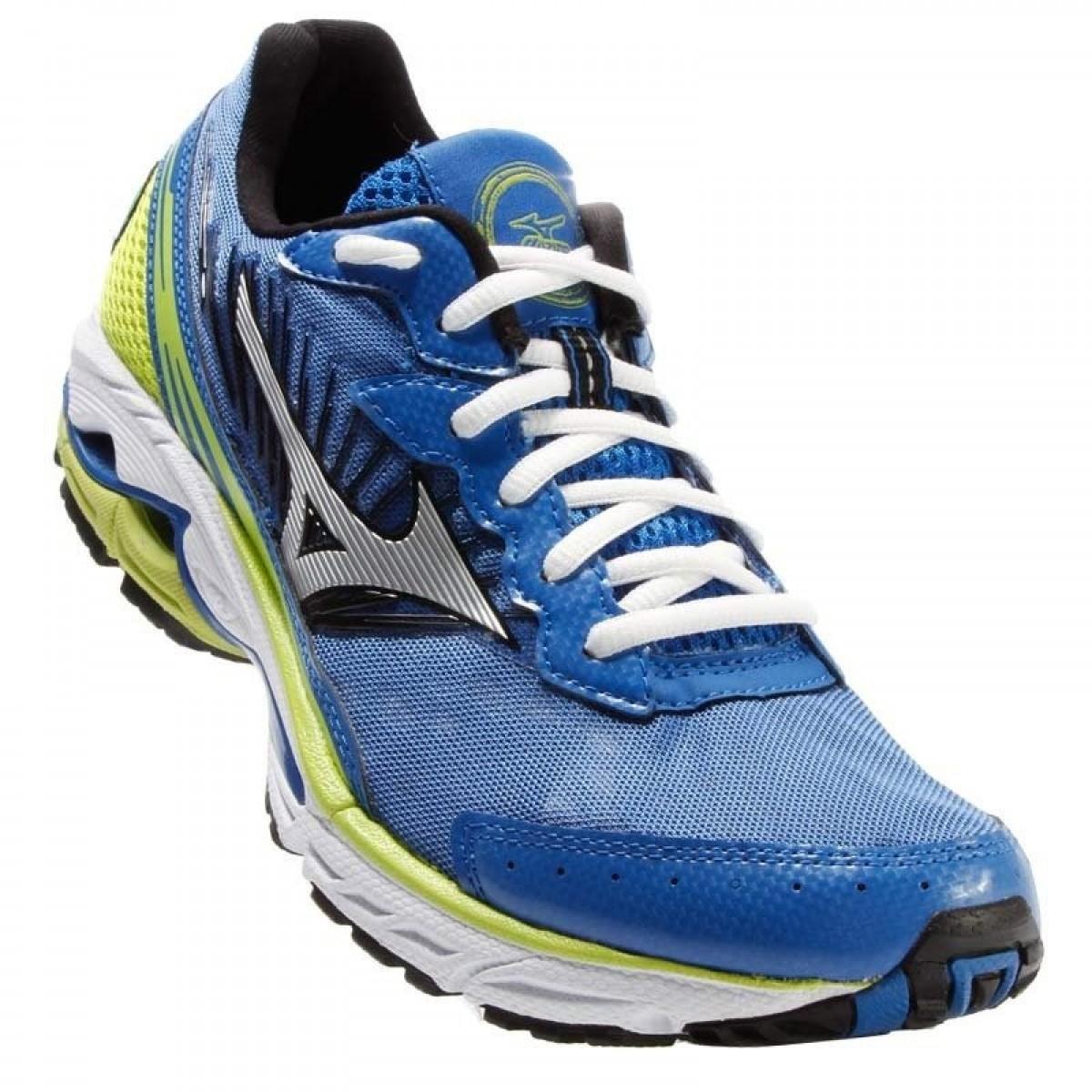 e90d21f67a Tênis Masculino Mizuno Wave Prorunner 16 Azul e Verde - Compre Agora