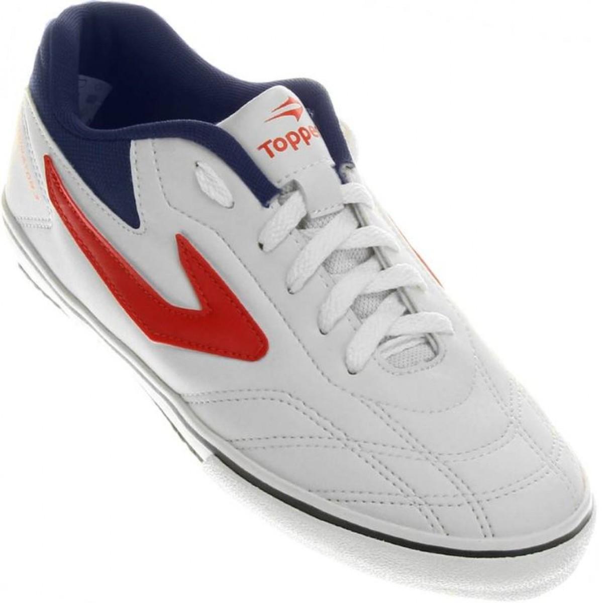 Chuteira Futsal Topper Dominator III Branco e Vermelho - Masculino ... 256e529c157a3
