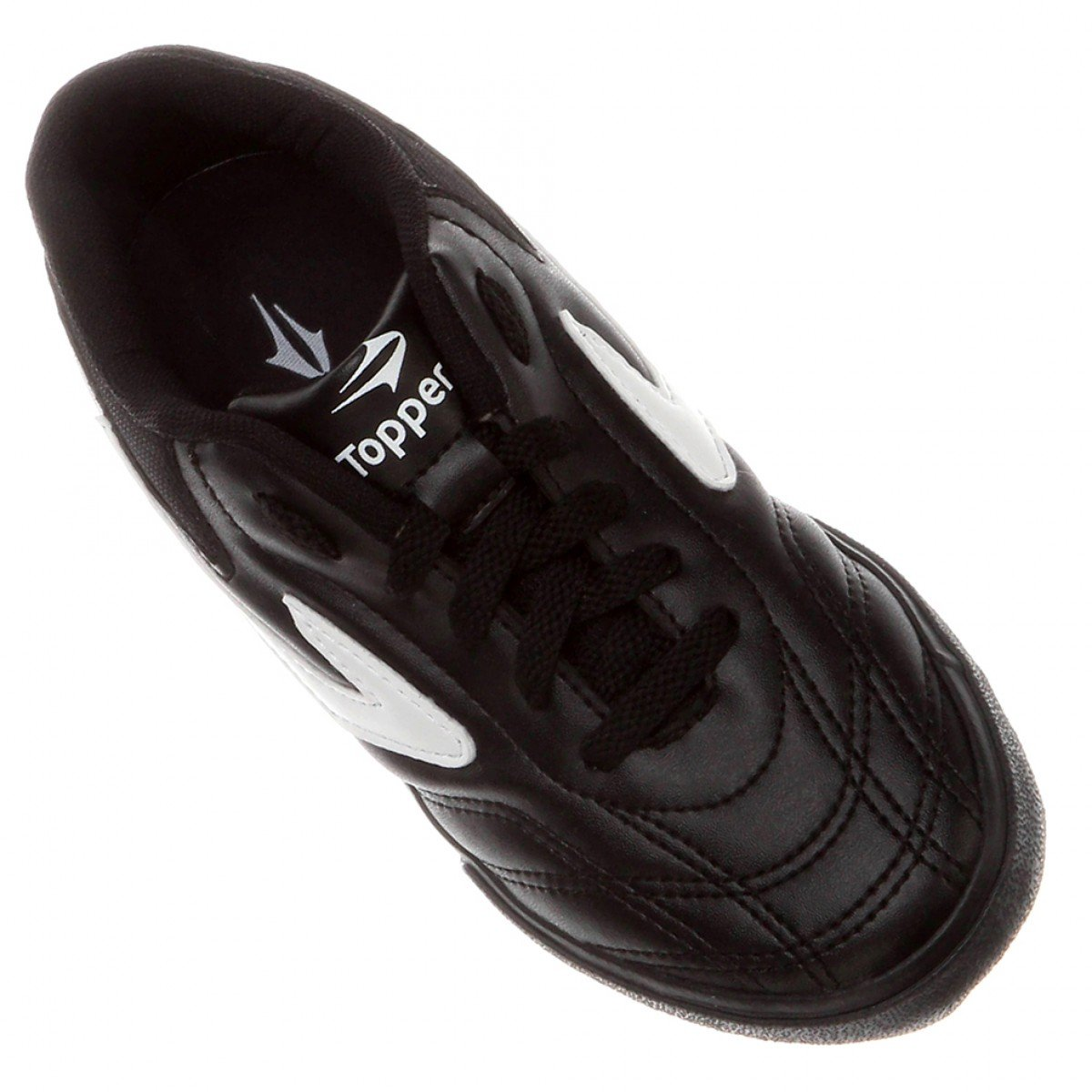 1cf0868694 Chuteira Futsal Infantil Topper Dominator III Preto e Branco ...