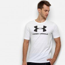 Camiseta Under Armour Sportstyle Logo 19 Masculina - Branco e Preto