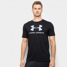 Camiseta Under Armour Sportstyle Logo 19 Masculina - Preto e Prata