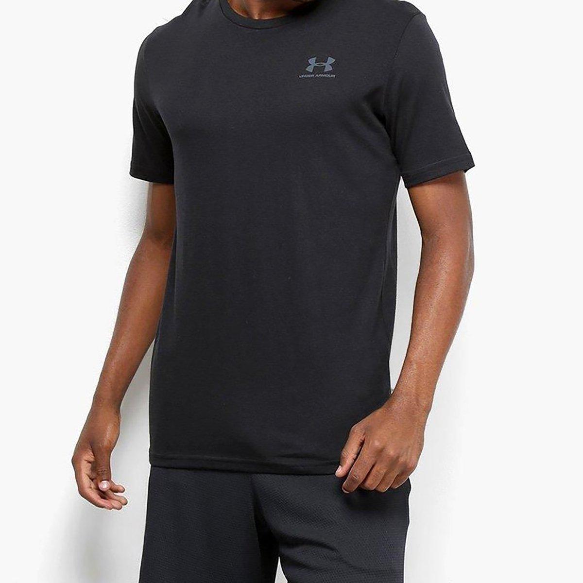 Camiseta Under Armour Sportstyle Left Chest SS Masculina - Preto e Cinza