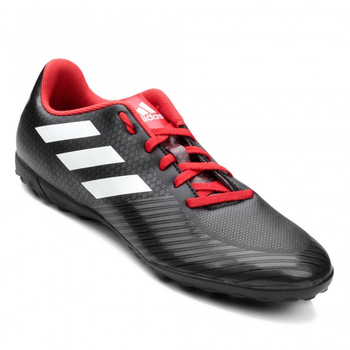 Chuteira Society Adidas Artilheira III TF Masculina - Preta e Vermelha
