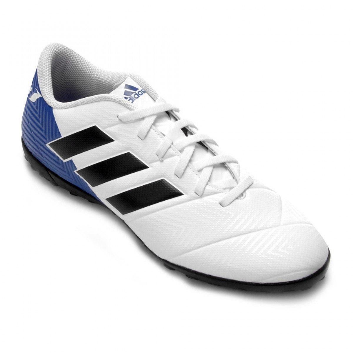 Chuteira Society Adidas Nemeziz Messi Tango 18.4 - Branco e Azul ... eaeed34c2bf70