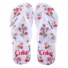 Chinelo Coca Cola Floral Connection Feminino - Branco