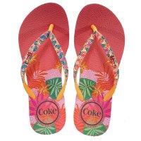 Chinelo Coca Cola Jungle Summer Feminino - Rosa e Laranja