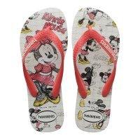 Chinelo Havaianas Disney Stylish Feminino - Branco e Vermelho