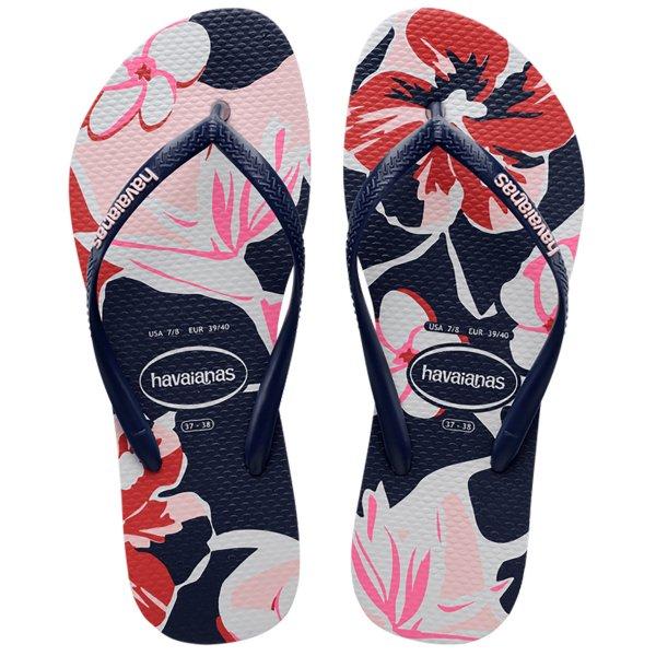 Chinelo Havaianas Slim Floral Basic Feminino - Marinho