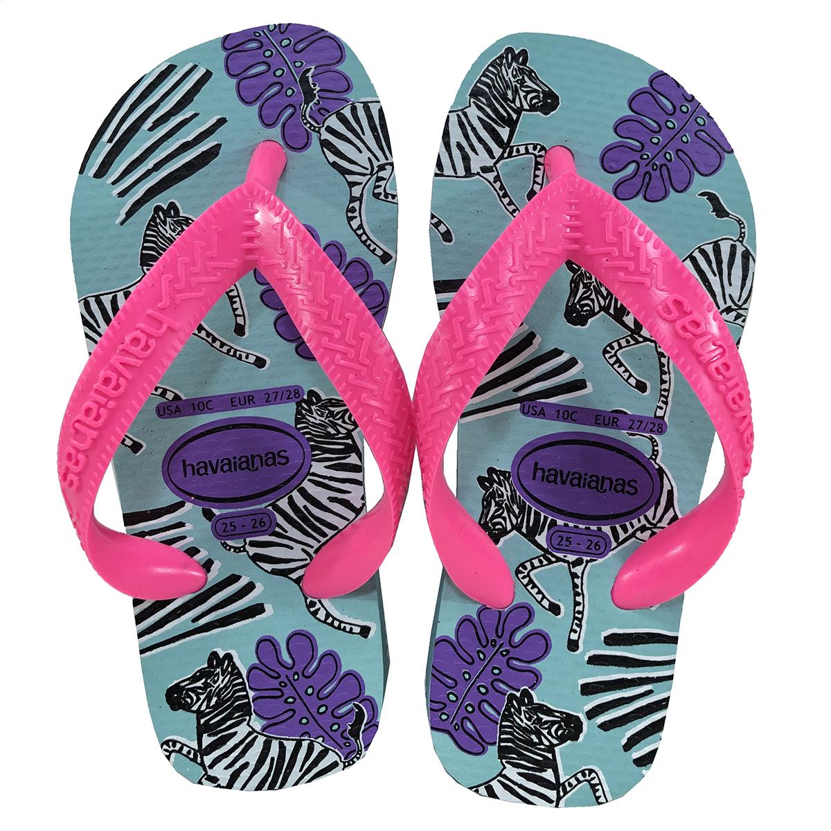 Sandália Havaianas Kids Top Fashion Zebra - Azul e Rosa