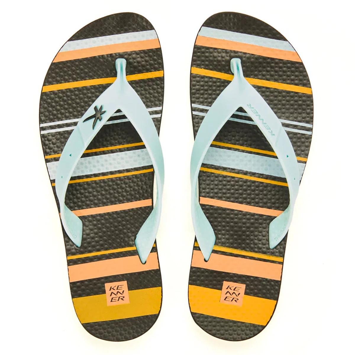 Chinelo Infantil Kenner Summer Striped - Preto e Laranja