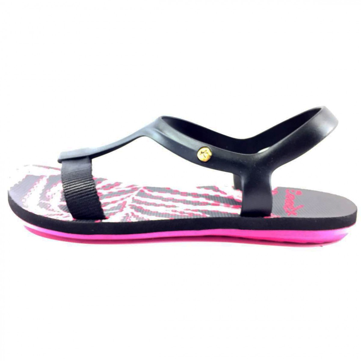 3ea9b62d8f Sandália Feminina Kenner Lips Wing Sandal Leaves Twp Preta - Compre ...